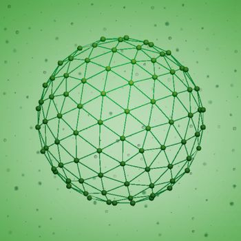 Abstract futuristic polygonal sphere on the green small particles background. Vector illustration