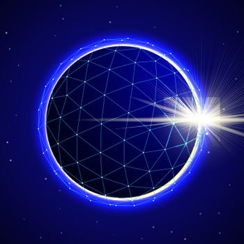 Abstract blue digital polygonal 3d sphere on starfield space background with eclipse. Vector illustration