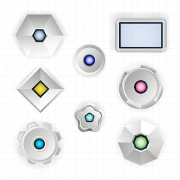 Set of abstract futuristic simple geometric shapes with colored lights. Gear, hexagon, circle, square. Vector illustration