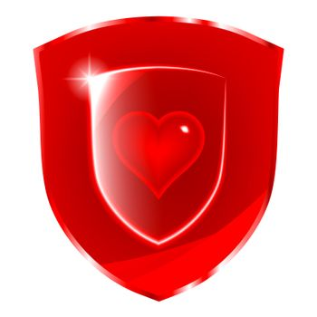 Cardio health protection symbol. Glass heart symbol over the red shield.