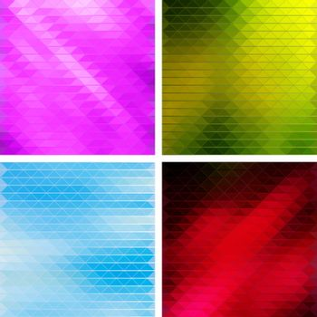 Creative Triangular Polygonal Colorful Mosaic Backgrounds. Set of four different color themes, pink, green, blue and red. Vector illustration