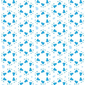 Blue hearts in a six-pointed star shape. Seamless vector pattern background. Pattern swatch included