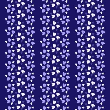 Blue and white hearts seamless wallpaper stripes pattern background. Pattern swatch included