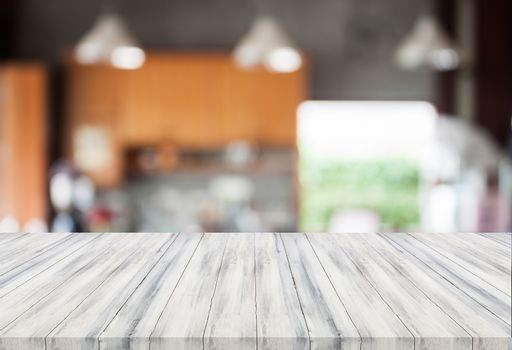 Abstract blur coffee shop with white table top. For product display