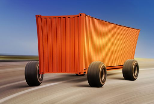 cartoon container moving on road, cargo transportation