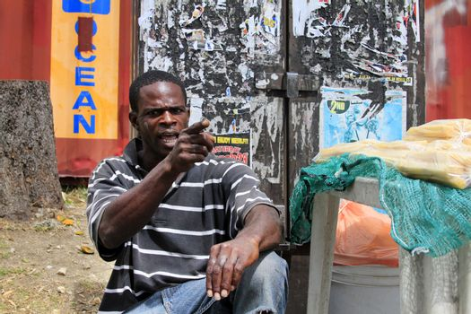 Barbados, Barbados - April 8, 2013: Angry man on the island of Barbados points finger.