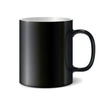 Black big ceramic cup for printing corporate logo. Cup isolated on white background. Vector 3D illustration