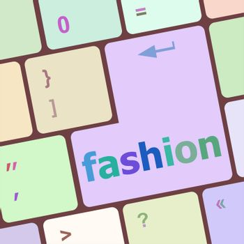 Computer keyboard key with fashion words - social background