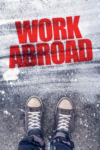 Work abroad title on the pavement