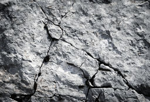 Limestone rocks with fissures
