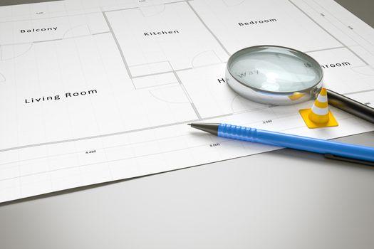 3d rendering of a typical floor plan