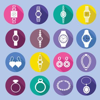Vector collection silhouette icons set with fashion watches and jewelry in flat style