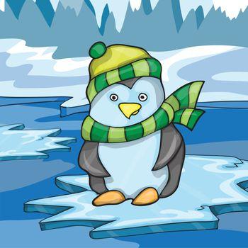 Illustration of funny penguin on ice background