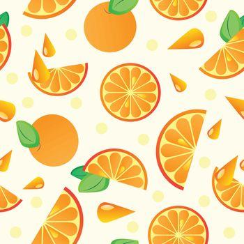 Orange fruit seamless pattern - vector illustration for background