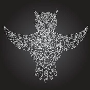 Ornamental hand-drawn owl