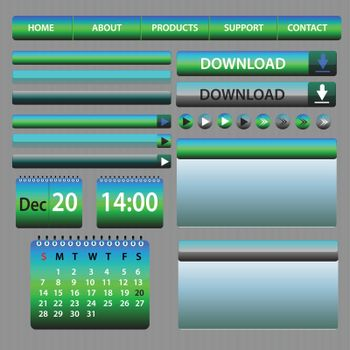 Web Elements Design Blue and Green