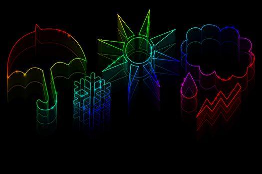 Neon weather symbols