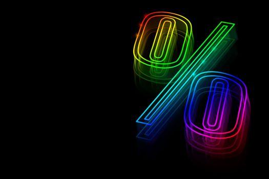 Neon symbol percent discounts on black background