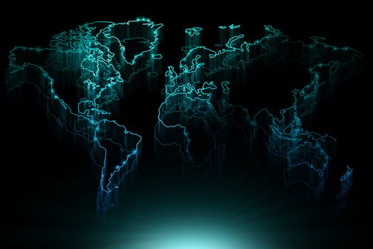 Glowing blue contour map of the world