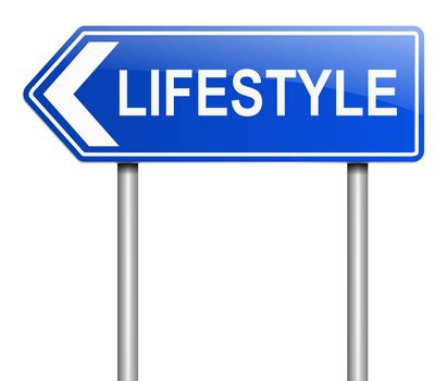 Illustration depicting a sign with a lifestyle concept.