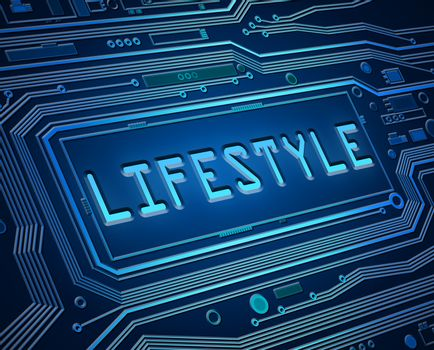 Abstract style illustration depicting printed circuit board components with a lifestyle concept.