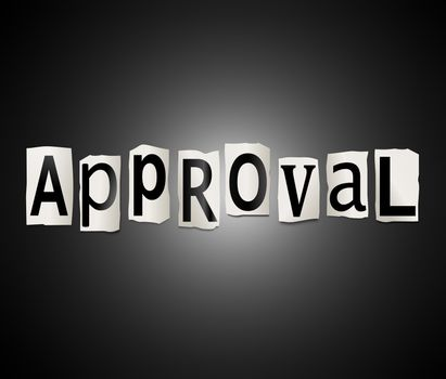 Illustration depicting a set of cut out printed letters arranged to form the word approval.