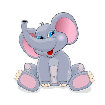 Cartoon elephant on a white background. Greeting card . Cartoon baby elephant .