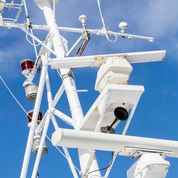 Mast of a modern ship - Selective focus