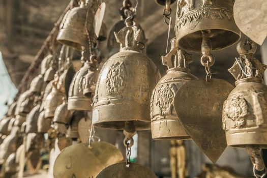 Golden buddhist bells w