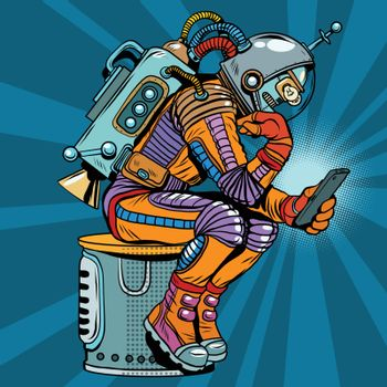 Retro robot astronaut in the thinker pose reads smartphone