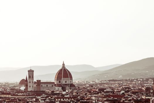 Panorama of Florence and Cathedral of Santa Maria del Fiore in Italy. Colorized photograph with plenty of copy space on the top