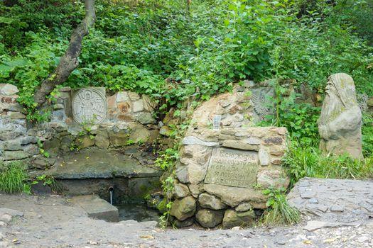"Spring grandfather taran - source of the river ""carica"" in Horodyshche district of the Volgograd region, Russia"