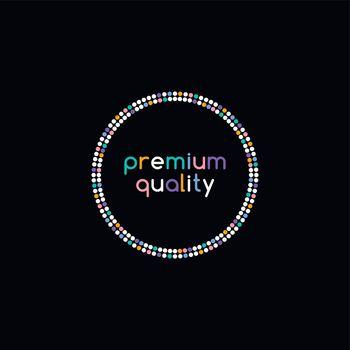 colorful dot theme art premium quality badge