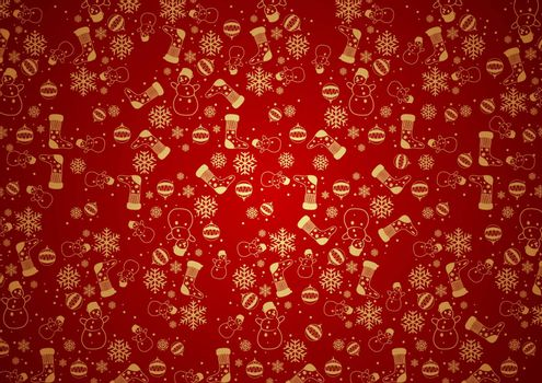 Red Christmas Background Texture with Outlined Ornaments in Gold Color - Illustration, Vector