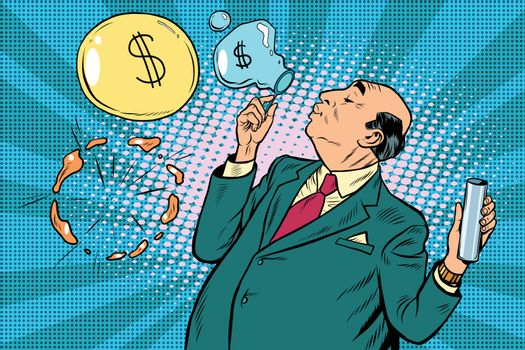 Businessman financier money inflates bubbles