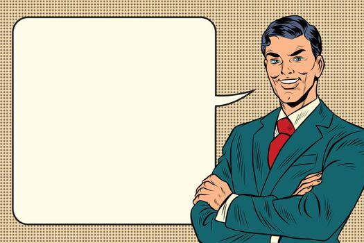 successful retro businessman, comic bubble