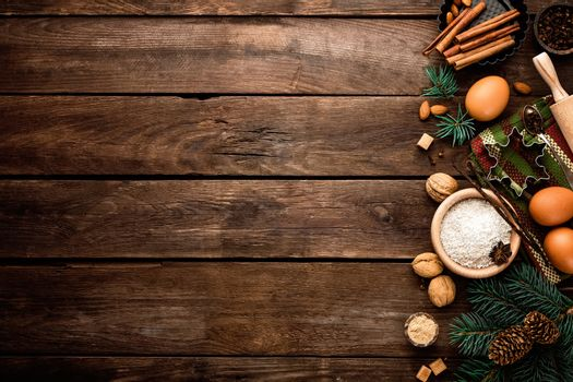 culinary background for Christmas baking