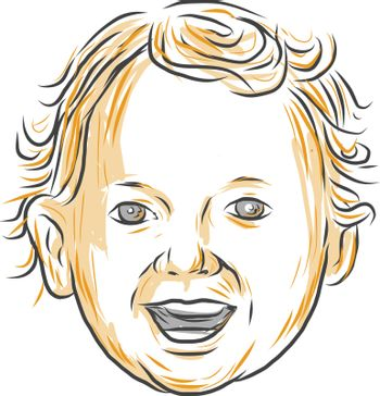 Drawing sketch style illustration of a Caucasian toddler, aged 1 to 3 years old with curly hair smiling viewed from front set on isolated white background.