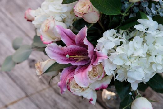 Wedding bouquet of white and pink flowers