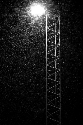Snow Falling by Light with steel frame.