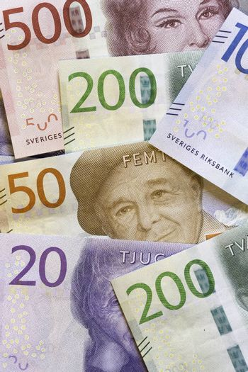 Swedish Currency (Notes) Close Up.