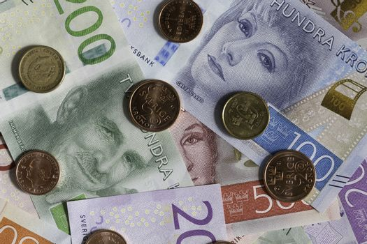 Swedish Currency, Notes and Coins Close Up.