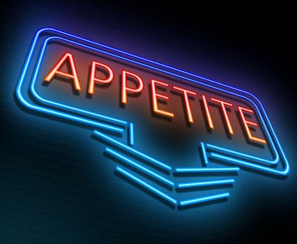 Illustration depicting an illuminated neon sign with an appetite concept.