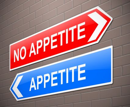 Illustration depicting a sign with an appetite or no appetite concept.