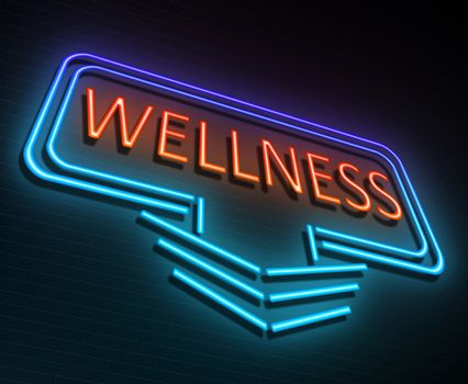 Illustration depicting an illuminated neon sign with a wellness concept.