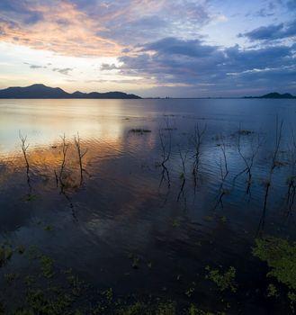 beautiful scenic of Bangpra reservoir dusky time in chonburi eas
