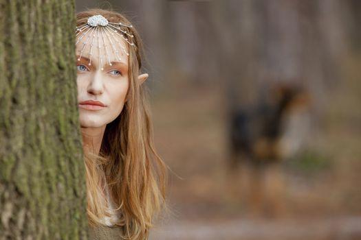 Elf beautiful woman woods