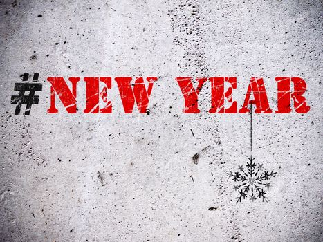 New Year hashtag rubber stamp on grunge concrete wall illustration