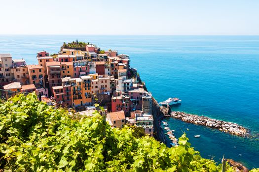 Scenic view of colorful traditional houses in Manarola, Cinque Terre, Italy