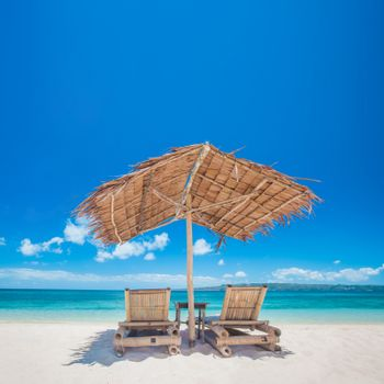 Chaise lounge on beach